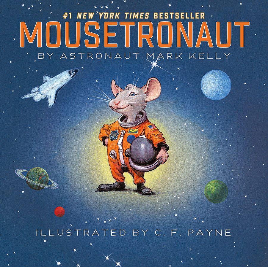 Illustration of mousetronaut on cover of picture book