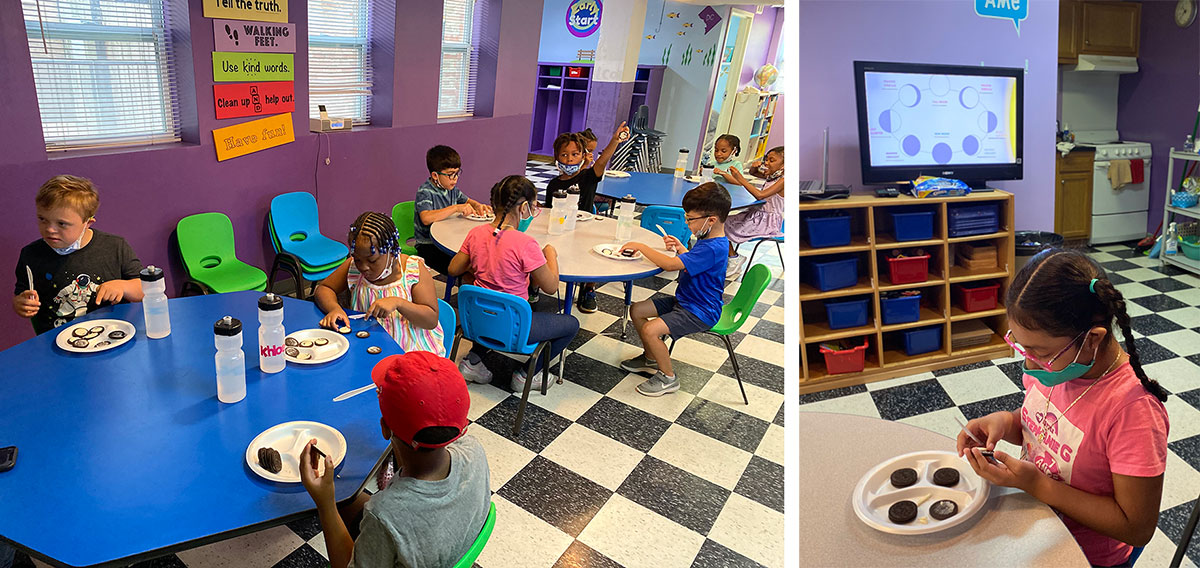 Young multicultural children making phases of the moon with Oreos in STEM summer program