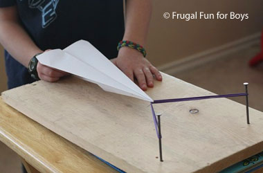 photo of a homemade paper airplane launcher