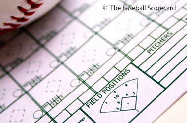 photo of a baseball score keeping sheet