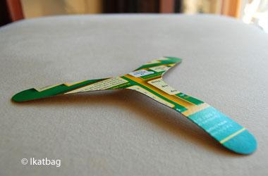photo of a homemade bookerang