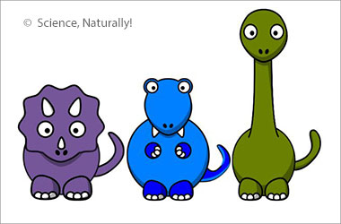 a purple, a blue, and a green dinosaur standing in a line. They are all different types and heights.
