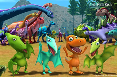 image of four cartoon dinosaurs