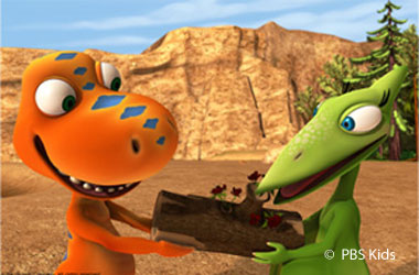 two cartoon dinosaurs holding a log
