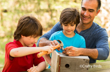 man and two boys building a birdhouse