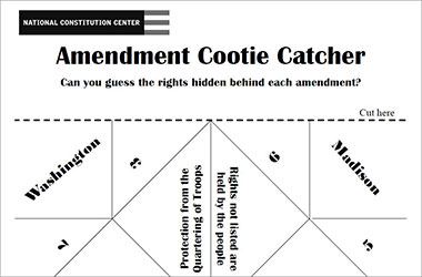 Amendment cootie catcher or fortune teller foldable worksheet