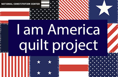 cover of I am America Quilt project activity showing a patchwork quilt background