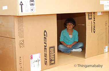 photo of a cardboard fort