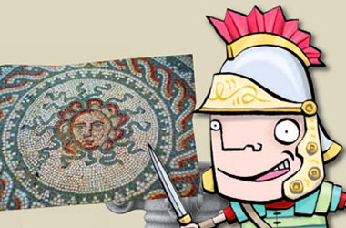 illustration of a centurion pointing a a photo of a mosaic