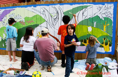 photo of children painting a mural