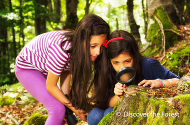 two girls looking at a rock through a magnifying glass
