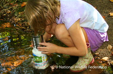 Child looking through a tin can and plastic container at something under the pond water.