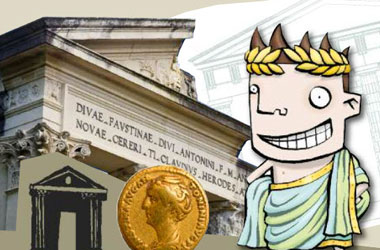 illustration of a Roman in front of a photo of a museum