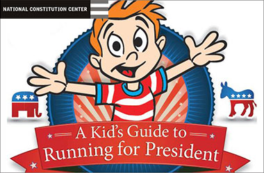 red, whiet, and blue illustrated cover of A Kid's Guide to Running for President showing smiling boy