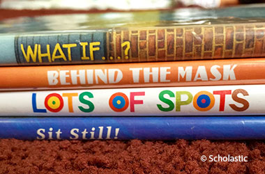 photographic cover of Spine Poetry showing the spines of a stack of books