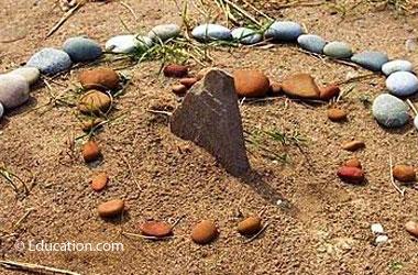a sundial made of rocks