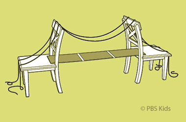 drawing of a homemade suspension bridge using two chairs