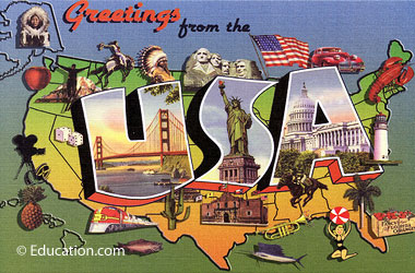 a drawing of the U.S. showing iconic images from across the country