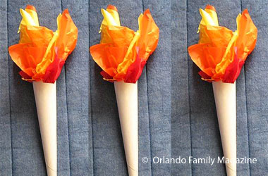 fake torches made out of paper