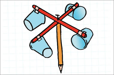 An illustration of four sticks attached to the top of a pencil and there is a plastic cup attached to each stick.