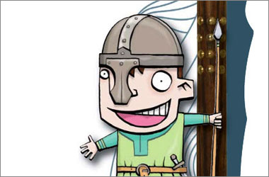 cartoon drawing of a boy in a viking helmet