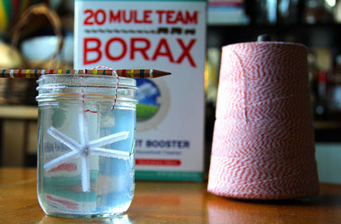 photo of string and a box of borax. looks like snowflake shape is in glass jar.
