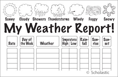 Weather tornadoes and hurricanes fiction nonfiction for Kids weather report template