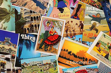 pile of postcards from around the world