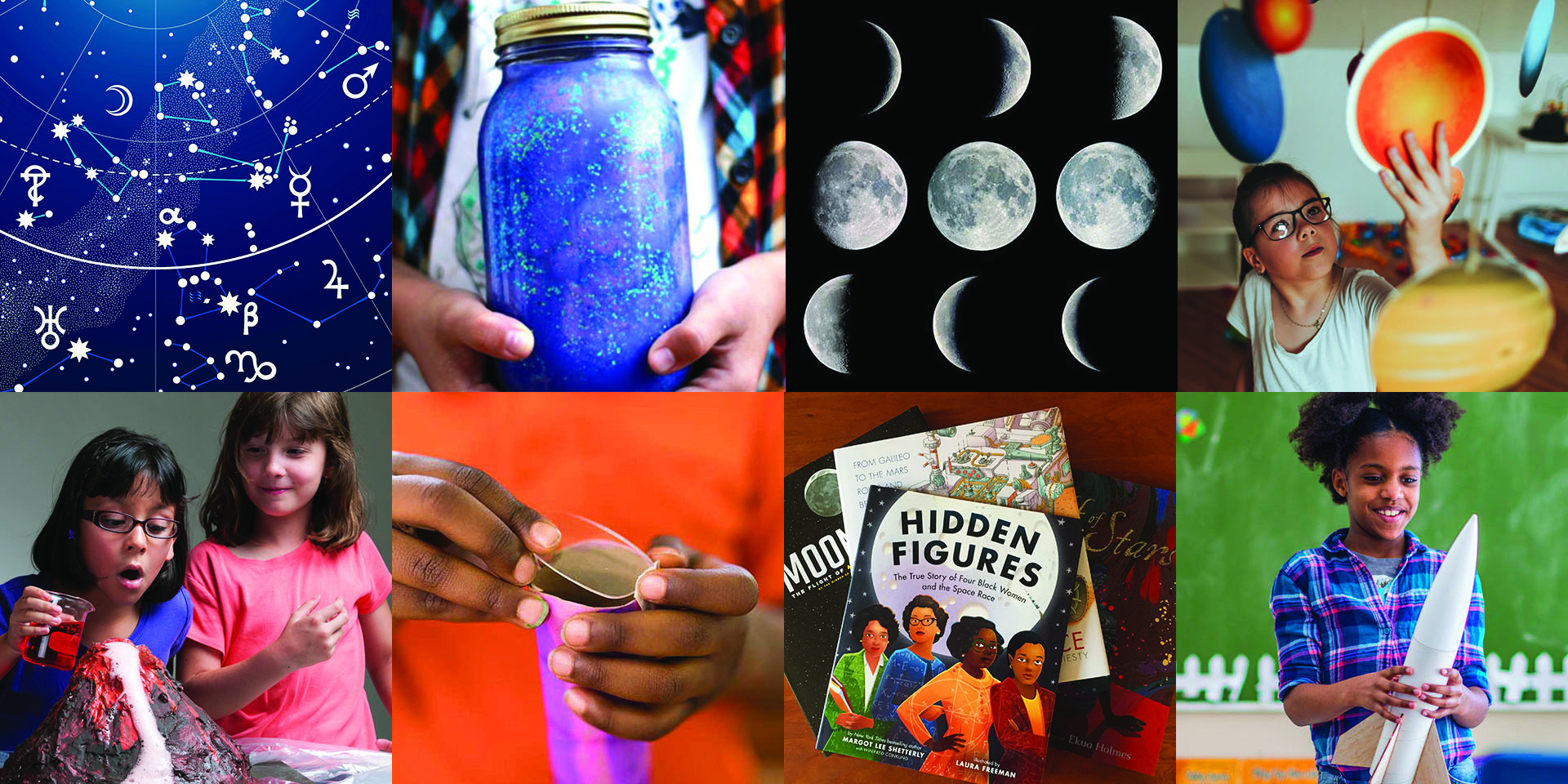 Summer science: multicultural young children doing space exploration activities