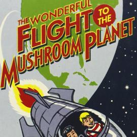 illustrated cover of The Wonderful Flight to the Mushroom Planet showing two children in a rocket in space