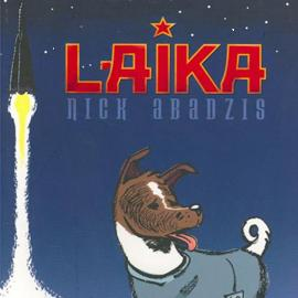 cover of Laika showing a dog and a rocket launching