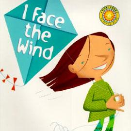 "illustrated cover of ""I Face the Wind"" showing young child holding a kite"