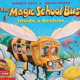 "cover of ""The Magic School Bus"" showing a school bus that looks like a bee"