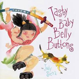 "cover of ""Tasty Baby Belly Button"" showing a dog and girl with a sword"
