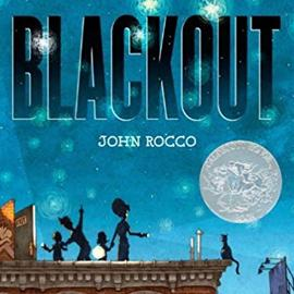 illustrated cover of Blackout showing a dark sky with stars. A family with flashlights looks out at the night..