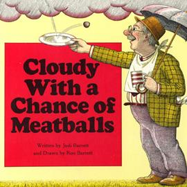 "cover of ""Cloudy With a Chance of Meatballs"" showing man with umbrella catching a meatball falling from a cloud"