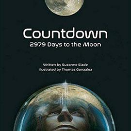 illustrated cover of Countdown showing man in space helmet looking up at the moon.