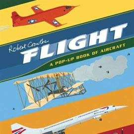 "cover of ""Flight: A Pop-up Book of Aircraft"" showing different kinds of planes"