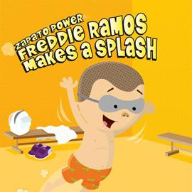 "illustrated cover of ""Freddie Ramos Makes a Splash"" showing boy in swim goggles"