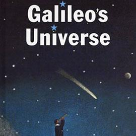 illustrated cover of Galileo's Universe showing person looking through telescope at comet in night sky.