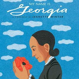 illustrated cover of My Name is Georgia showing a dark-haired girl looking down at orange flower in her hand.