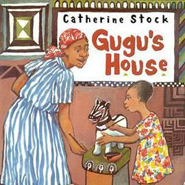 illustrated cover of GuGu's House showing woman and child. The child is painting a figure like a zebra.