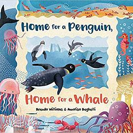 Home for a Penquin, Home for a Whale book cover showing swimming penquins and sea creatures underwater