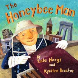 "illustrated cover of ""The Honeybee Man"" showing a man in a bee keeper's outfit"