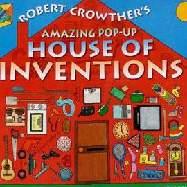 "cover of ""House of Inventions"" showing a house with items on the wall, like a saw, a lawnmower, and a clock"