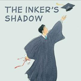 illustrated cover of The Inker's Shadow showing a graduate holding a diploma and throwing his cap in the air.