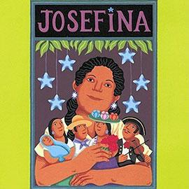 Cover of Josefina showing young Mexican woman holding many clay figures.