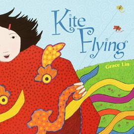 "illustrated cover of ""Kite Flying"" showing child running with a dragon kite"