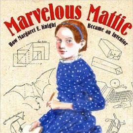 "cover of ""Marvelous Maddie"" showing young girl surrounded by sketches of inventions"