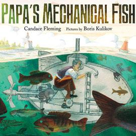 "cover of ""Papa's Mechanical Fish"" showing man in fish-shaped submarine"
